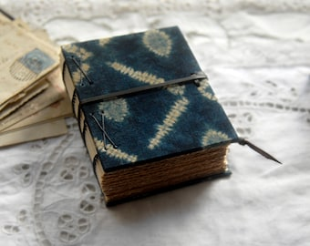 Indigo Dreaming - Shibori Fabric Notebook, Tea Stained Pages - OOAK