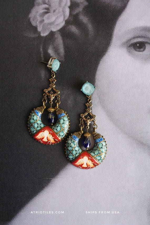 Portugal Antique Azulejo Tile Replica Chandelier Earrings,  Ilhavo - Dove Frescoes from Sintra Palace Chapel - Persian Bohemian Boho Post