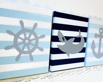 Nautical Nursery Paintings - Baby Boy Nursery Decor - Anchor Shark Helm Canvas Painting - Nursery Art - Wall Hanging Grey Navy Light Blue