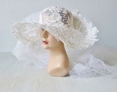 Reserved Vintage White Wedding Hat with Attached Veil / 1970s 1980s Bridal Hat Veil / Victorian Inspired Wedding / White Lace Hat