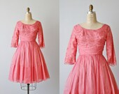 Vintage 1950s Silk Chiffon Party Formal Dress / 50s Dress / Coral Pink / Size Medium