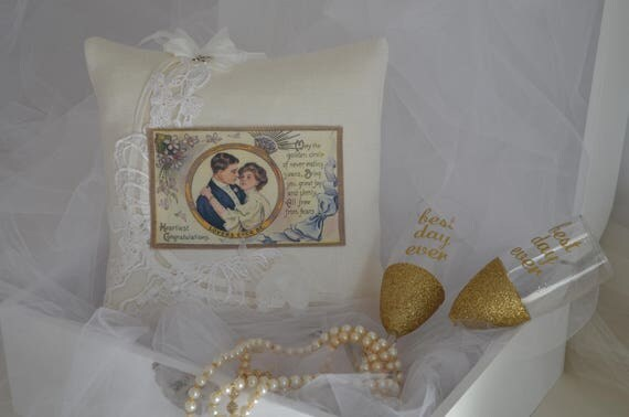"Wedding Ring Bearer Pillow  ""Lovers Ever Be"""