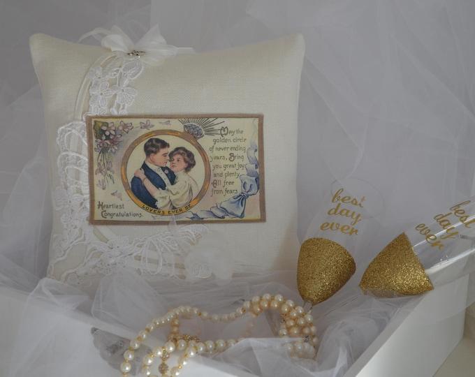 "Wedding Ring Bearer Pillow  ""Lovers Ever Be"""