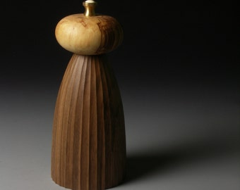 Fluted Walnut and Spalted Beech Pepper Mill