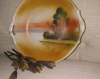 Beautiful Sunset/Vintage/Windmill/Scene/Serving/Centerpiece/Dish/at Nestbox Vintage, Probably Occupied Japan