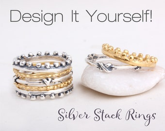 Stackable Rings. Stack Rings in Sterling Silver and Gold Vermeil.  Stacking Ring. Design your own silver stackable ring set.