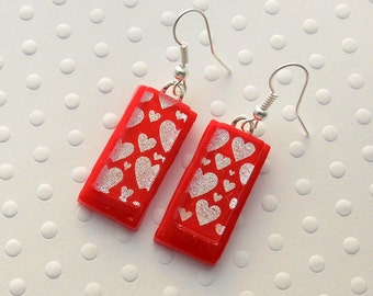 Red Heart Earrings, Dichroic Fused Glass Earrings, Heart Earrings, Valentine Earrings, Gift For Her X3240