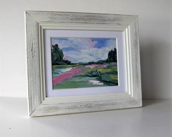 "Framed Impressionist landscape painting on canvas, Impressionist wall decor, green and pink, Expressionist art, 11"" x 9"", gift idea"