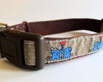 Kissing Blue Elephants Tan Dog Collar - XL