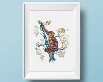 Monkey - Monkey art print- limited edition print // Wall Art 5 x 7, 8x 10, 11 x 14, 13 x 19