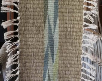 Handwoven Navajo Wedge Weave Wall Hanging, Wool,  in Shades of Green