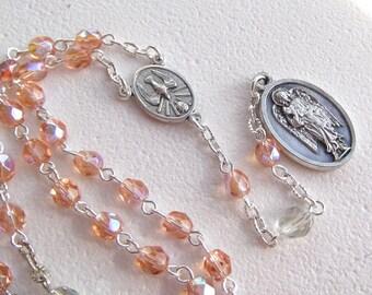Handmade Chaplet of Saint Gabriel the Archangel Petite Peach Glass Beads