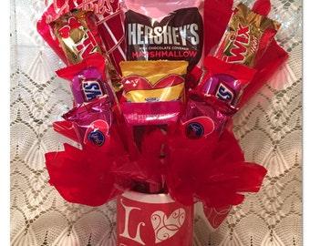 Valentine Candy Arrangement, Love Mug, Valentine Candy Gift