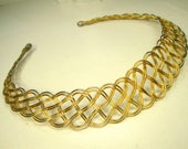 Gold Woven Wire Neckring Necklace, a Classic Torque, Shiny  Collar Choker, 1980s