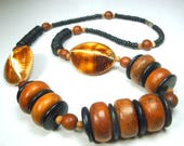 RESERVED Carla, Organic Brown & Black Wood Bead Necklace, SeaShell Side Oval Beads,  1980s Earthy Natural