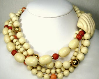 NAPIER Signed Faux Cream Oxbone, Gold n Coral Resin 4 Strand Necklace, Palm Beach Colors, Nice Chunky Elegant Beaded Choker