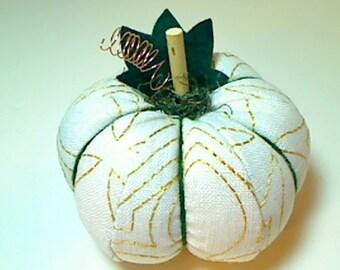 Size 3 | Cream Fabric Pumpkin | Holidays | Halloween | Fall Decor |Stuffed Pumpkin | Thanksgiving | Handmade | Pincushion | #3