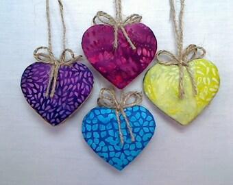 Batik  Heart Ornaments | Holidays | Party Favors | Tree Ornament | Handmade Gift | Christmas Ornament | Valentine's Day |Folk Art |Set/4 |#2