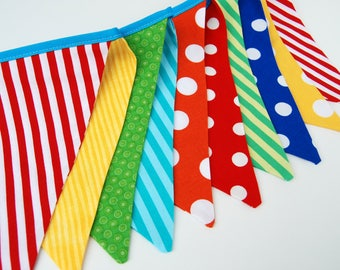Carnival Birthday Party, Circus Banner Bunting Flags, Party Decor -- red, yellow, aqua blue, green, orange fabric flags - boy or girl