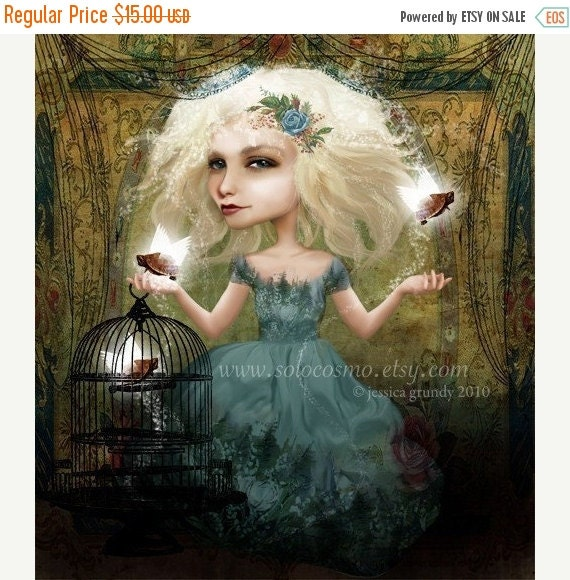 """CHRISTMAS SALE Girl and Turtles Fantasy Digital Collage Print """"If You Love Them, Set Them Free"""" Fine Art 8.5x11 or 8x10 Giclee Print"""