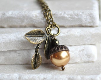 Sweet Little Acorn Necklace, Rose Gold Acorn Pearl Necklace in Antiqued Brass and Bronze for the nature lover, Woodland Nature Jewelry