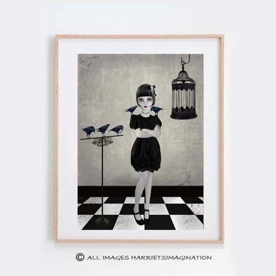Lolita Art Print - Goth Girl Art - Lolita & Blackbirds - Gothic Art - A4 Art Print - Wall Decor - Companions
