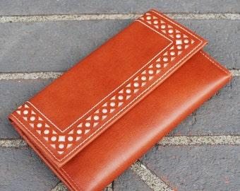 Vintage Brown Vinyl Checkbook Wallet Princess Gardner New Old Stock