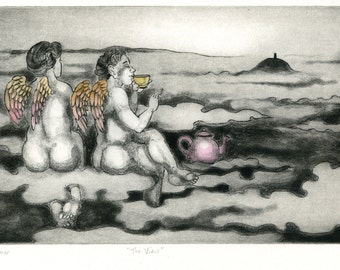 Angels in the clouds above Glastonbury Tor, Drinking Tea - 'The View' - Drypoint & etching print by Nancy Farmer, original art. Somerset, UK