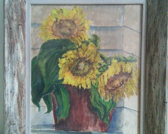 Signed Watercolor Still Life Sunflowers - New York Artist Sylvia Buchalter