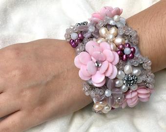 Spring Wedding Bracelet, Wedding Cuff Bracelet, Pearl Bracelet, Spring Jewelry, Bridal Bracelet, Pearl Bracelet, Pink Flower Jewelry