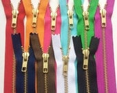 Metal Zippers- YKK Brass Sampler Set- (10) pieces- Number 5s- Closed Bottom- Currently available in 7,12, and 20 Inches