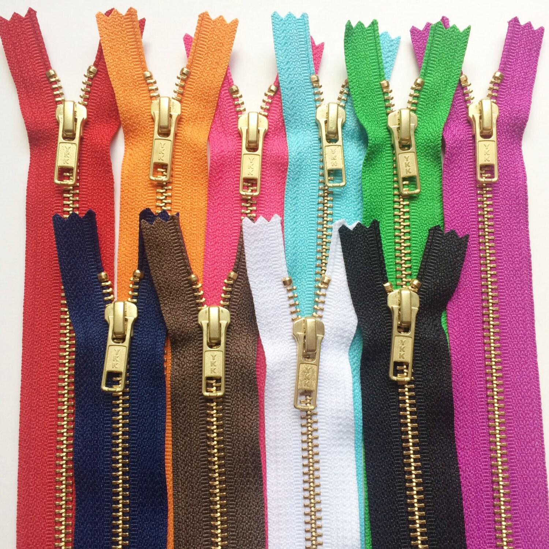 Metal Zippers YKK Brass Sampler Set 10 pieces Number 5s