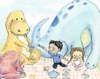 Dinosaur Tea Party Art Print