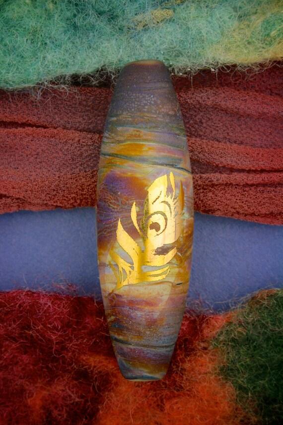 "Lampwork Beads SRA ""Gold Feathers"" Handmade Sandblasted Glass Focal Bead 24K Gold Lustre Long Oval"