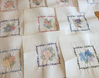 Machine Embroidered Quilt Squares Blocks Floral Multi-Line - set of 10