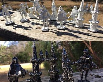 Vintage 16 Assorted Cast Metal Game Chess Pieces--11 White 5 Black--Felt Bottom--Renaissance Period--Medieval--Castle--Unicorn--Jester