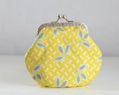 Thistle Leaf Large Coin Purse Change Pouch with Metal Kiss Clasp Lock Frame - READY TO SHIP