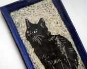 Black Cat Tray – Serving Platter – Sushi Plate – Mens Valet Tray – Kitchen Dish – Sgraffito Pottery