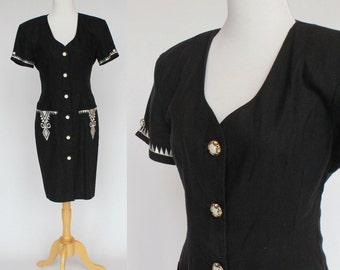 80s Button Front Cotton Dress / Black with White Embroidery / Black Linen Dress / Short Sleeves / Small