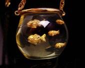 Vintage Fish bowl necklace / Lucite goldfish pendant / FIGURAL Acrylic jewelry / Zoology gift ichthyologist/ mid century modern