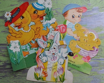 Vintage Easter Cards by Americard Flocked Mechanical & Stand-Up
