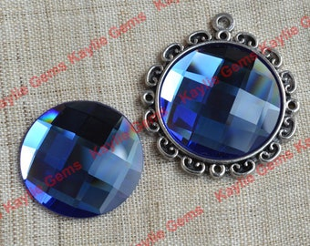 New - Mirror Glass Cabochon cab 25mm Round Checker Cut Faceted Dome -Sapphire Blue - 2pcs