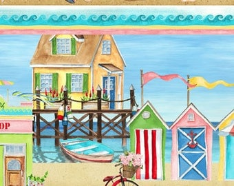 Seaside Village Fabric with Beach Scenes by South Sea Imports (by the yard)
