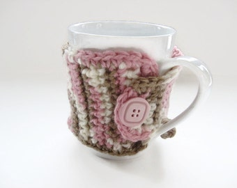 Ready To Ship Crocheted  Coffee Mug Cozy in Pink, Brown, Cream - Crocheted Cup Cozy - Crochet Mug Warmer With Button