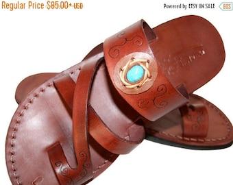 15% Off Brown Decor Bath Leather Sandals For Men & Women - Handmade Sandals, Leather Flip Flops, Unisex Flat Sandals, Brown Leather Sandals
