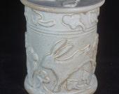 White Rabbit Storage Jar, cannister, Cookie Jar, rabbit pottery, Handmade pottery