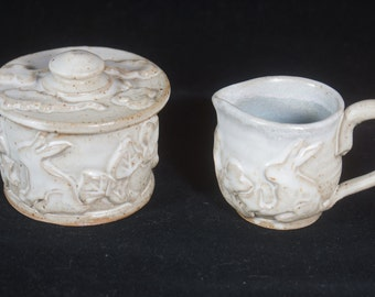 White Rabbit Sugar and Creamer set, sugar bowl, creamer , rabbit pottery, Handmade pottery