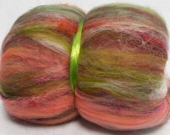 Hand carded batts, 100g, BFL, Merino, Cheviot, Tussah silk, Yak, Viscose, Sari Silk. felting batts,fibre,  spinning fiber, Barcelona