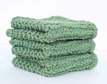 Cotton Wash Cloths in Sage - Dish Cloth - Hostess Gift - Housewarming Gift - 3 pack - Ready to Ship