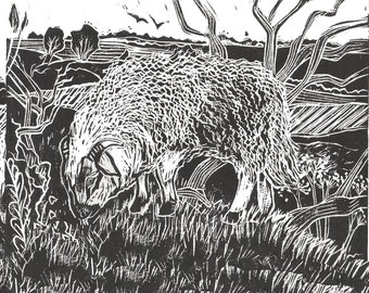 Dartmoor Sheep, Original Lino Cut Print